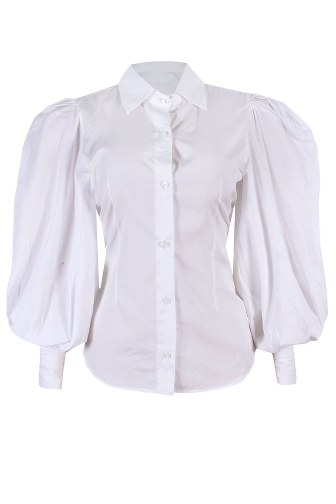 RITA WHITE PUFFY SLEEVE SHIRT