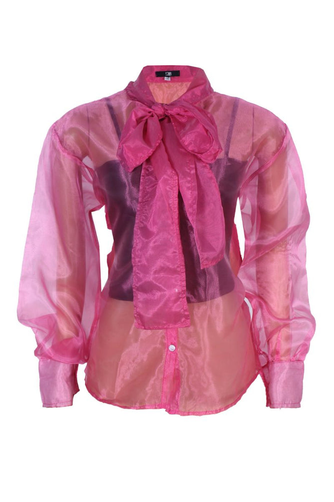 FIONA PINK ORGANZA SHIRT WITH TIE NECK