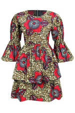 BELLA DOUBLE LAYERED ANKARA DRESS