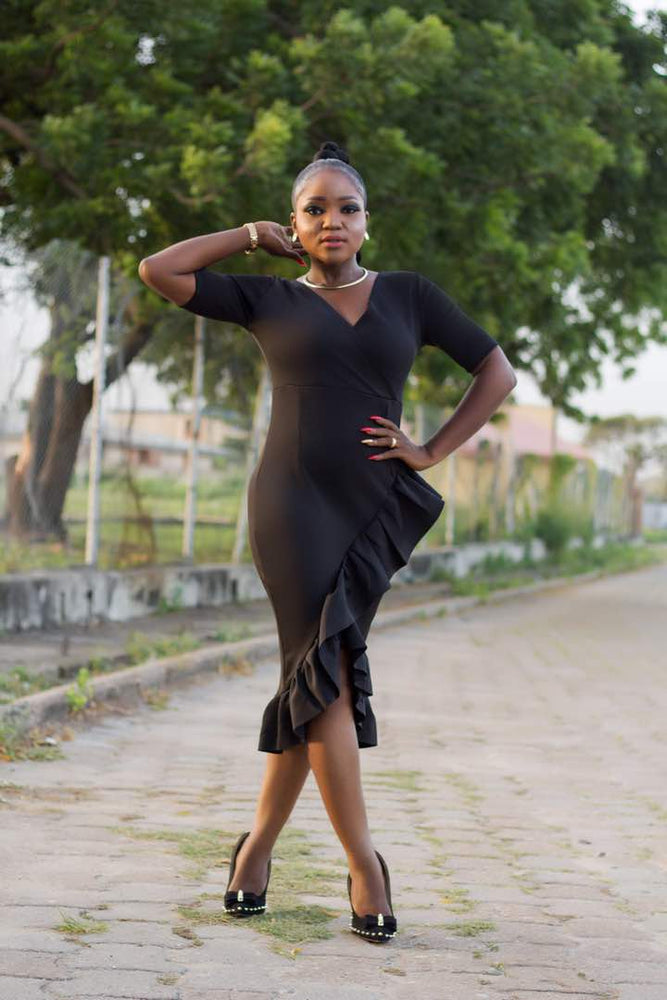 Load image into Gallery viewer, Black-Frill-Dress-Nigeria2.jpeg