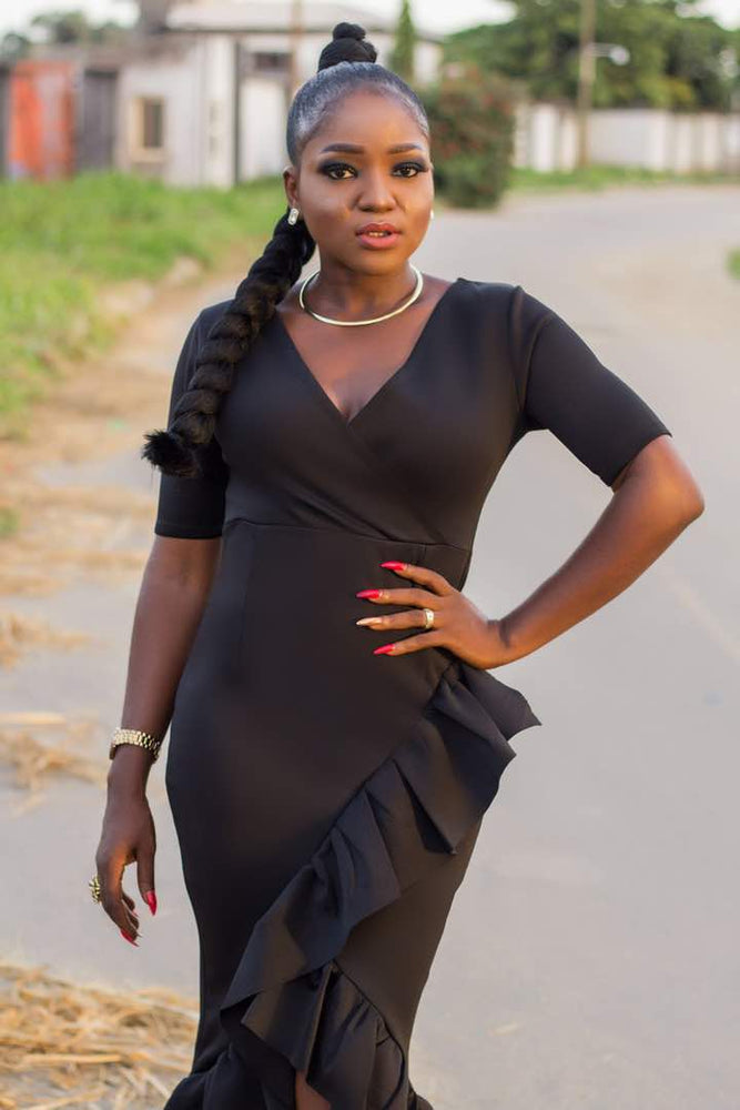 Load image into Gallery viewer, Black-Frill-Dress-Nigeria3.jpeg