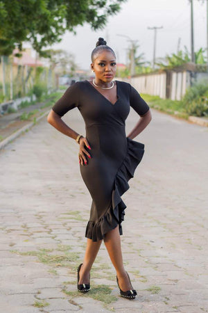 Load image into Gallery viewer, Black-Frill-Dress-Nigeria4.jpeg