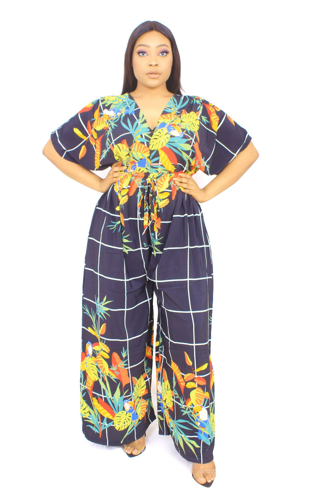 OPE BLACK FLORAL JUMPSUIT