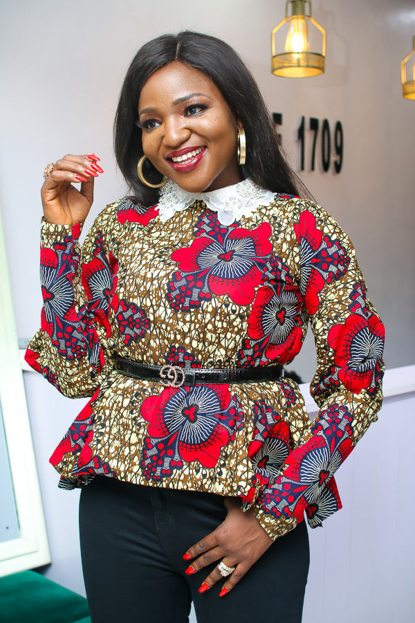 AMARA EMBELLISHED COLLAR ANKARA TOP