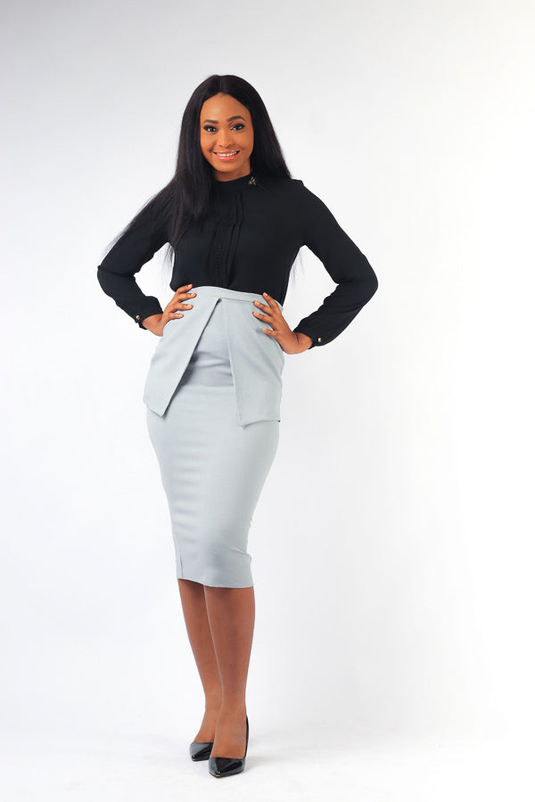GABBY SPLIT FLAP MIDI SKIRT