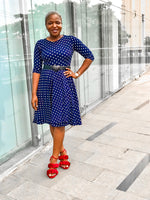 WAMI POLKA DOT SKATER DRESS