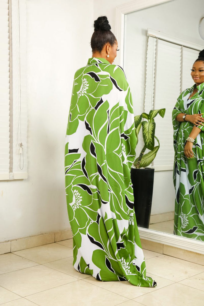 Load image into Gallery viewer, NAHILA-GREEN-FLORAL-BOUBOU-DRESS-4.jpg