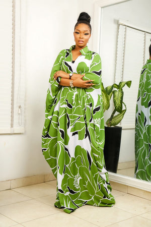 Load image into Gallery viewer, NAHILA-GREEN-FLORAL-BOUBOU-DRESS.jpg