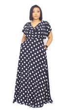 SIRAN COWL NECK TOP AND MAXI SKIRT SET (POLKA)