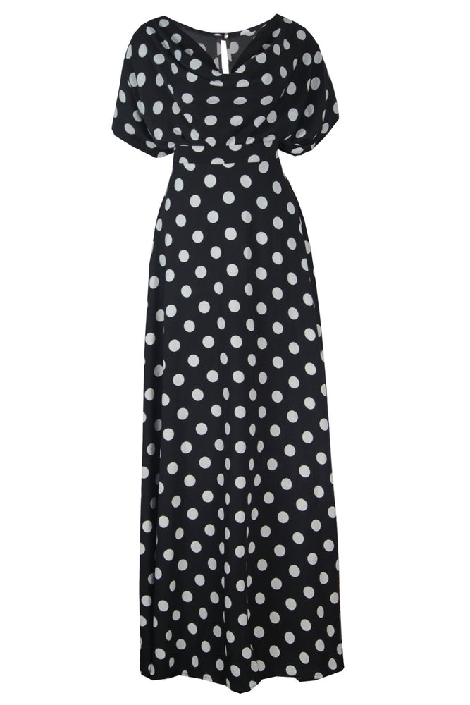 Load image into Gallery viewer, SIRAN COWL NECK TOP AND MAXI SKIRT SET (POLKA)
