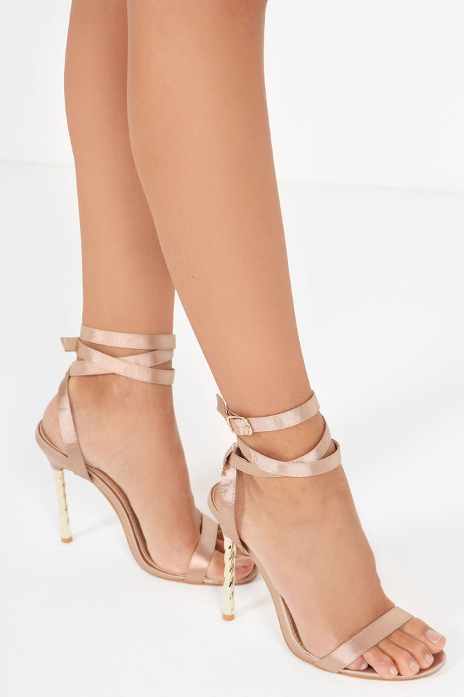 SATIN STRAPPY SANDAL WITH TWISTED HEEL
