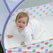 Load image into Gallery viewer, Pop-Up Travel Bubble Cot & padded mattress (6 to 18 months) Pastel Polka Dot