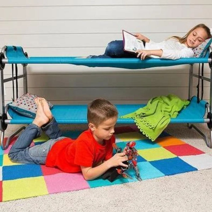 Blue Kid-O-Bunk Portable Bunk Bed - Feather on the Floor