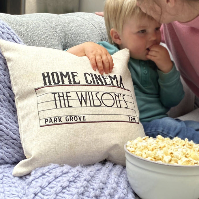 Personalised Home Cinema Family Cushion - Feather on the Floor