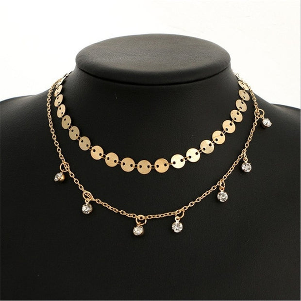 Sequin Crystal Choker Necklace
