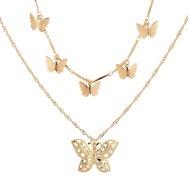 Butterfly Pendant Choker Necklace
