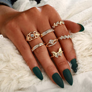 Bohemian Butterfly Rings Set