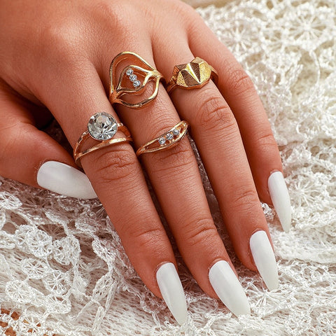 Crystal Charm Gold Plated Rings Set