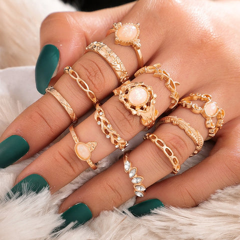 Milky Quartz Ring Set
