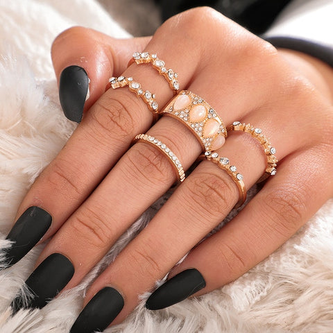 Bohemian Crystal Delight Ring Set
