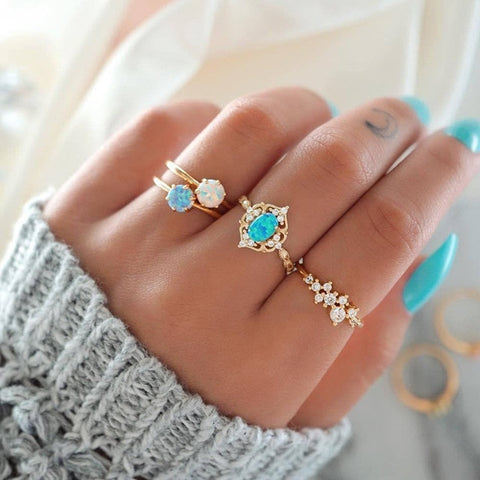 Gold and Blue Crystal Plated Ring