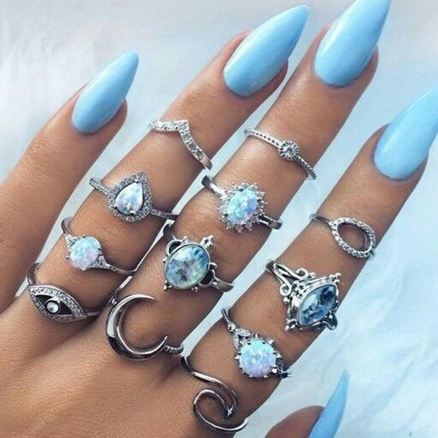 Retro Opal Knuckle Ring Set