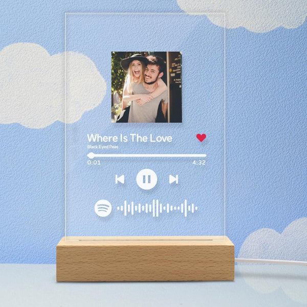 Aangepast fotolicht - Spotify Code Music Plaque Glass For Family (5.9in x 7.7in)