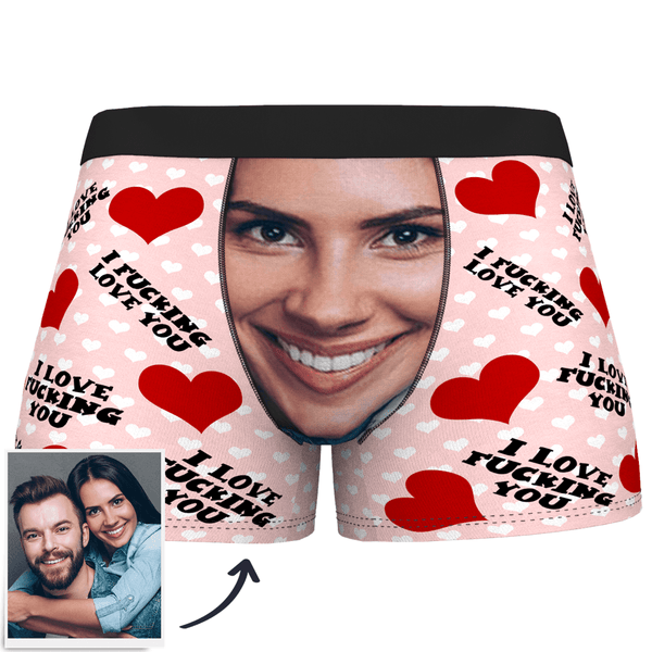 Custom Face Boxer Shorts I Fucking Love You - SokkenFoto