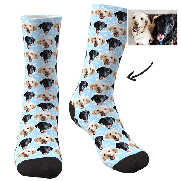 Custom Photo Dog Socks Colorful - Two Faces - MyPhotoSocks