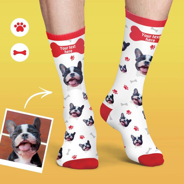Multicolor Serious Custom Face Socks Zachte, comfortabele oberhondssokken - wit