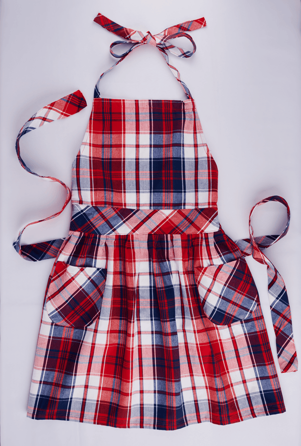Plaid Americana Apron with Pockets