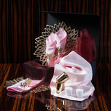 Love is in the Air Valentine Tablescape Kit with pink napkins and tablecloth, love napkin rings, gold candle votives