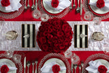 Angie's Tables overhead of the Will you be my Valentine Tablescape kit with gorgeous red roses floral display and red and white accents.