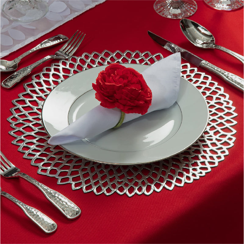 Will You Be My Valentine extra setting including a napkin, a napkin ring, and a silver charger.
