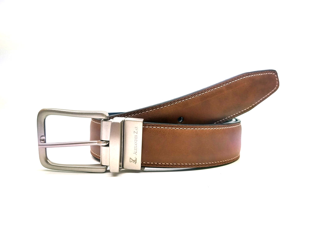 AZ by Alexander Zar Men's Reversible Leather Belt, 35 Millimeters, Casual Formal