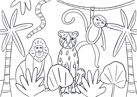 Down in the jungle colouring page by Cotton Twist at Percy Langley