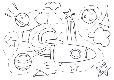 Out of this world colouring page by Cotton Twist at Percy Langley