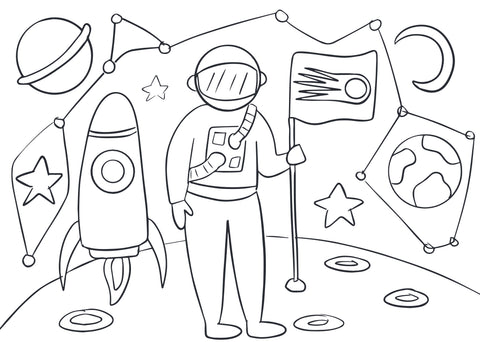 Space man colouring page by Cotton Twist at Percy Langley