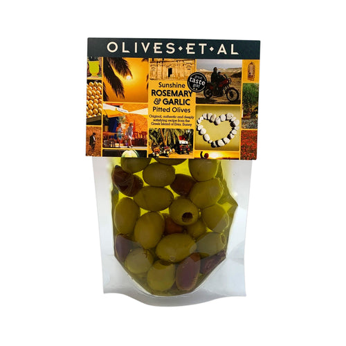 Traditional Greek olives, this rosemary and garlic recipe is from the sunny Greek Island of Evi, found in a small bar in Strofilia, in the north of the island. 240g of pitted olives marinated in extra virgin olive oil, stored in a pouch.