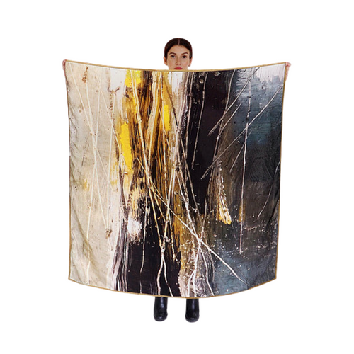 "Large Moorland pure silk scarf - 130cm X 130cm.  Print taken from ""Moorland"" series of paintings onto gypsum; creating wonderfully abstract textures on a large scale. Trimmed with a lime silk chiffon edging for extra contrast.   Designers Rubykite hand wrap each item in a gorgeous silk pouch, not only beautiful to receive the pouch provides a great way to store your scarf."