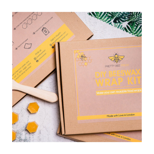 These great DIY Beeswax Wraps are ideal for anyone looking to reduce their plastic consumption in a fun and hands-on way. Pretty Bee Fresh would love everyone to start using eco-friendly beeswax wraps instead of plastic, so have created a fun DIY kit to show you how it's done. This boxed kit makes a great gift.  Included in the kit are 3 pieces of pure cotton fabric in the sizes XS/S/M; A piece of parchment paper; A wooden brush; 4 cubes of the finished wax mixture; Full instruction card on usage and care.