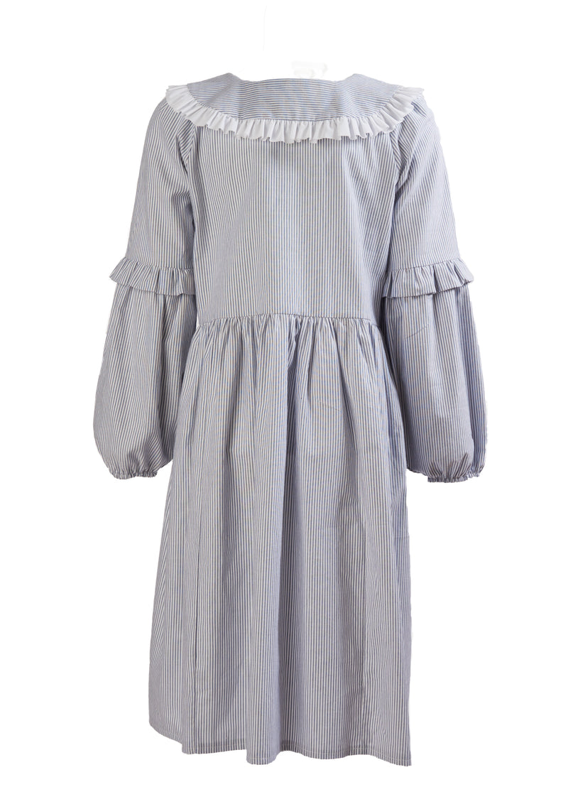 Minkie London's thin blue stripe Kate Dress has a beautiful frilled collar, balloon sleeves, and a knee-length skirt, the dress is an easy-to-wear statement piece.