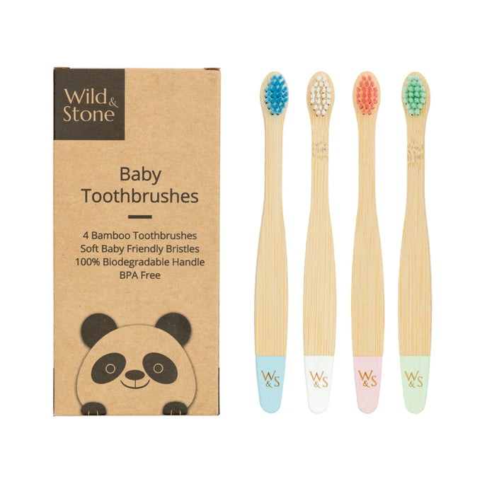 Baby Bamboo Toothbrushes 4 Pack - Extra Soft Bristles