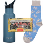 Fosh reusable water bottle with sports cap, Catherine Tough socks with bike print & handmade Chocolate by Arthouse UK.