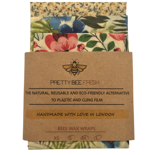 Pretty Bee Fresh Kitchen Pack is perfect for wrapping slightly larger things in your kitchen. From sandwiches, to veg, cheese or covering bigger bowls. The pack contains 3 Wraps in different sizes: Small, Medium and Large