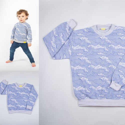 WAVE sweatshirt by Pickle. Designed and made in the UK.   One for dad and one for baby!