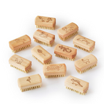 Small beech wood nail brush with leaf design or animal characters engraved.   100% biodegradable and compostable at the end of its life. FSC® certified beech wood and natural Tampico fibre (vegan) bristles. 100% plastic-free & biodegradable.
