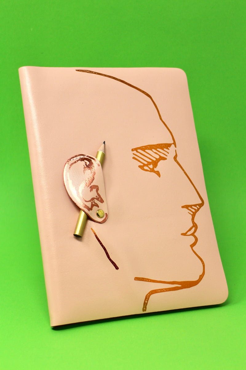 Foil embossed A5 leather bound journal, complete with gold HB pencil, Sold by Percy Langley