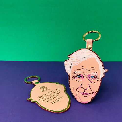 Key Fob of David Attenborough! With inspirational quote on the back. leather and gold plated. Handmade in Scotland by Ark Colour Design.