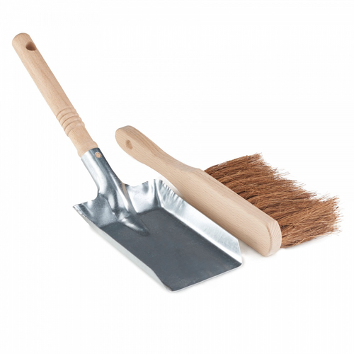 A plastic free metal dust pan and 100% FSC wooden brush set. The brush is made of sustainable beech wood and natural coir, coconut fibre bristles.
